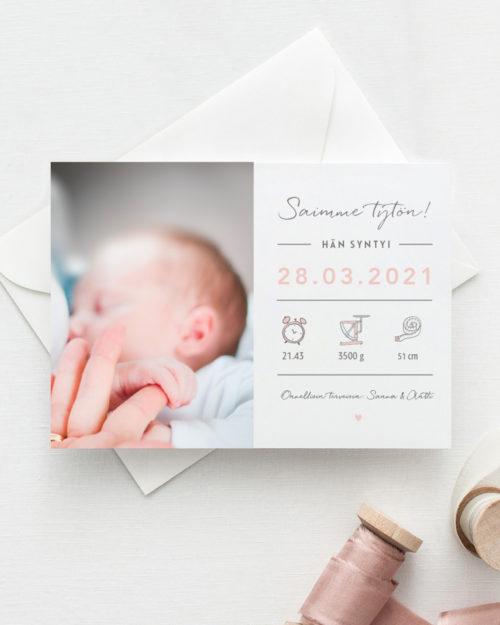 Baby Measurement saimme tytön vauvakortti