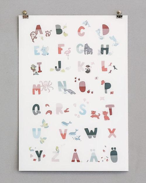aakkoset juliste alphabet poster