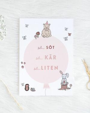 Söt, kär, liten vauvakortti vaaleanpunainen