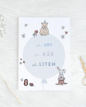 Söt, kär, liten vauvakortti vaaleansininen