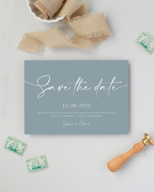 Handwritten Save the date kortti siniharmaa