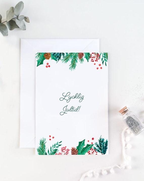 lycklig jultid joulukortti