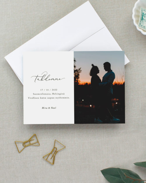 Romantic save the date kortti