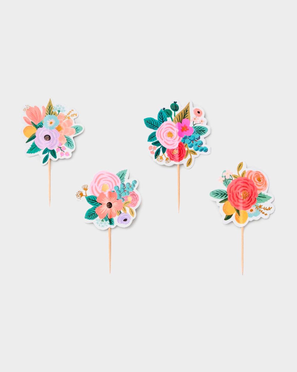 kukkakuvioidut muffinssikoristeet