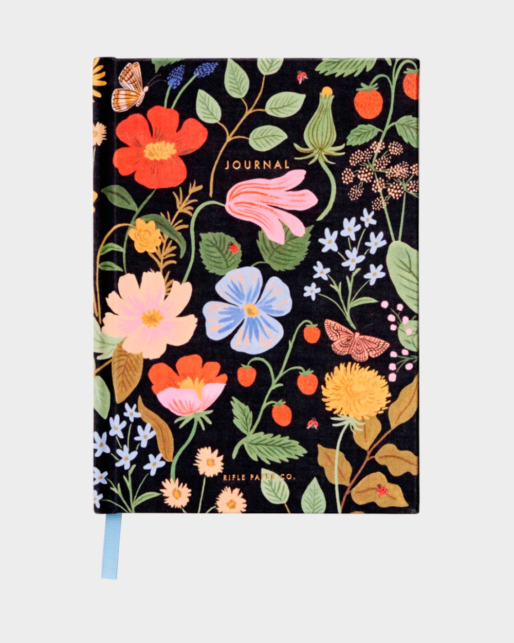 Tummapohjainen kukkakuvioinen muistikirja