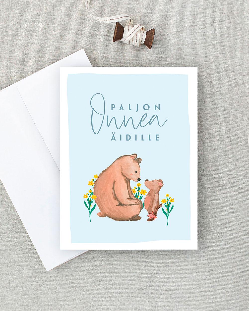 Äitienpäiväkortti jossa kaksi karhua