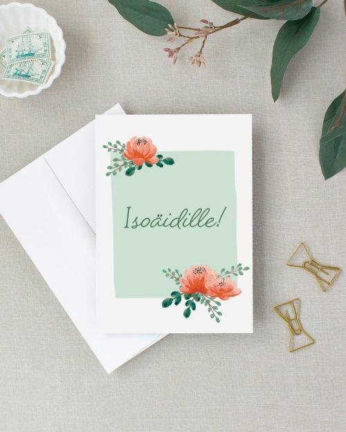 Isoäidille Äitienpäiväkortti kukkakuvituksella