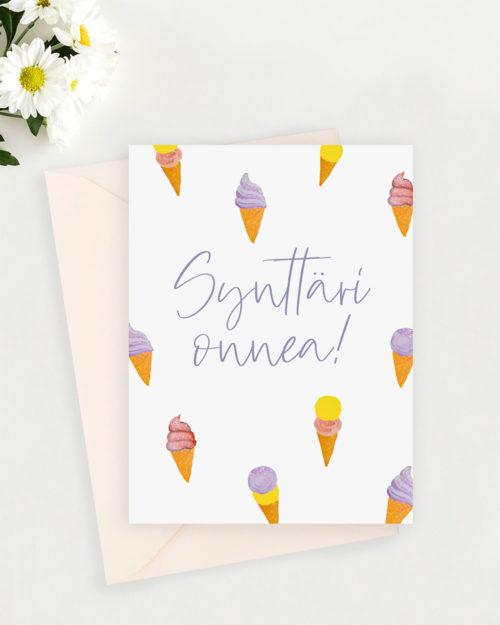 syntymäpäiväkortti jäätelökuvituksilla