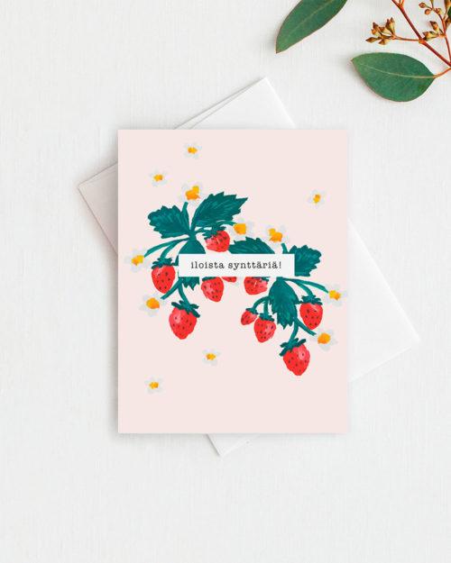 syntymäpäiväkortti mansikkakuvituksella