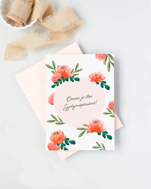 syntymäpäiväkortti jossa pionikuvitus