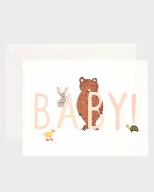 Baby vauvakortti, persikan värinen