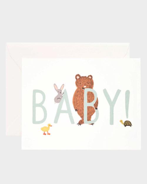 Vauvaonnittelukortti eläinkuvituksella