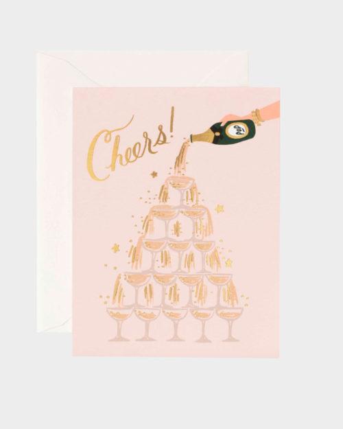 onnittelukortti jossa shampanjalasitorni