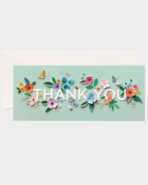 kiitoskortti kukkakuvituksella