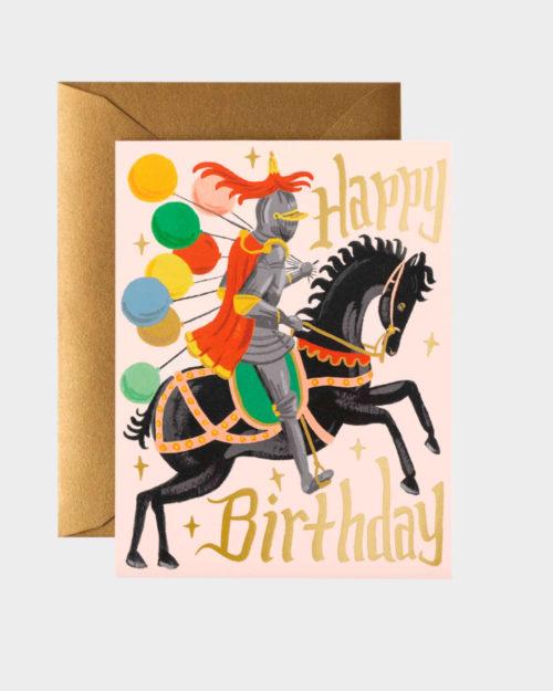 syntymäpäiväkortti jossa ritari hevosella tuo ilmapalloja