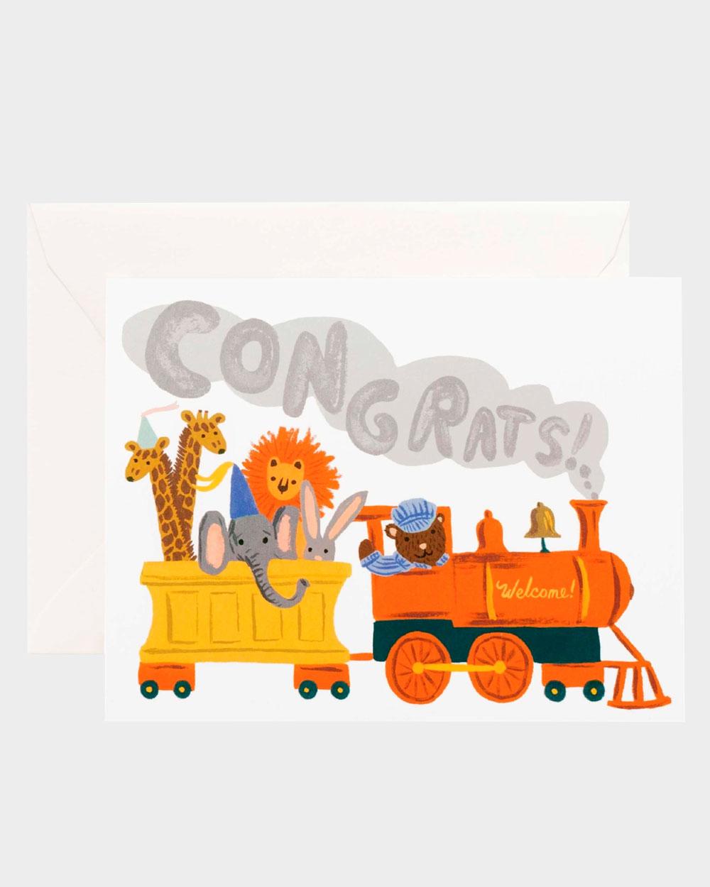vauvaonnittelukortti jossa juna ja eläimiä