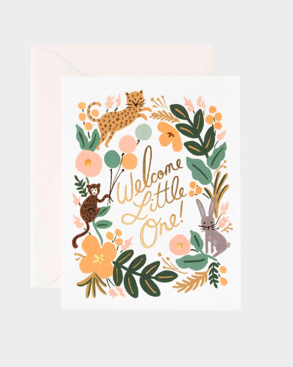 vauvakortti jossa eläimiä ja kasveja