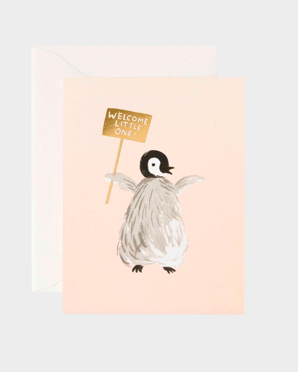 vauvakortti jossa pieni pingviini