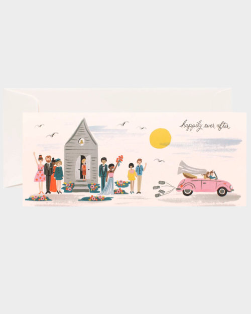 kortti jossa kuvituksena kirkko ja hääparin auto
