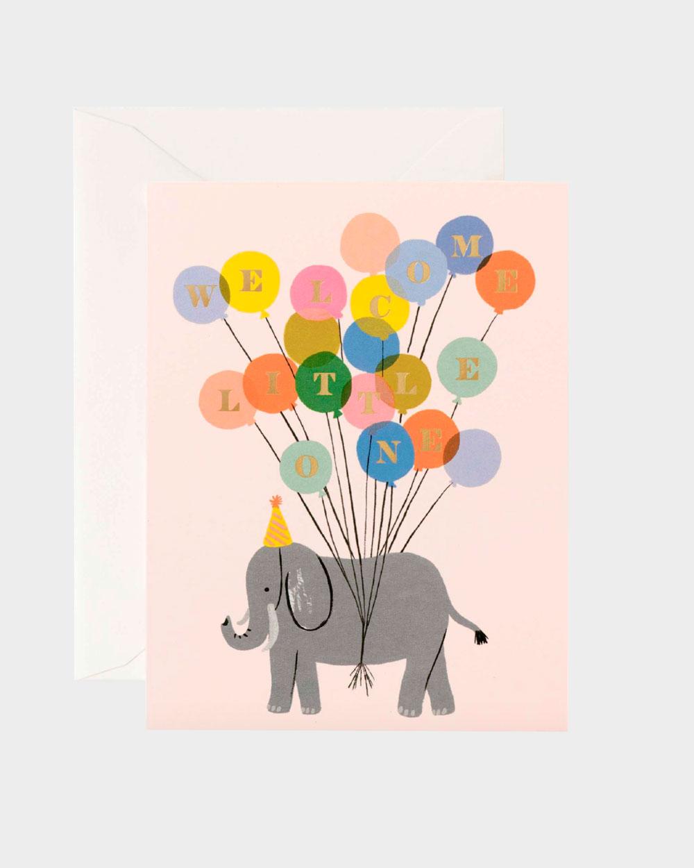 Vauvakortti kuvituksena elefantti ja ilmapalloja