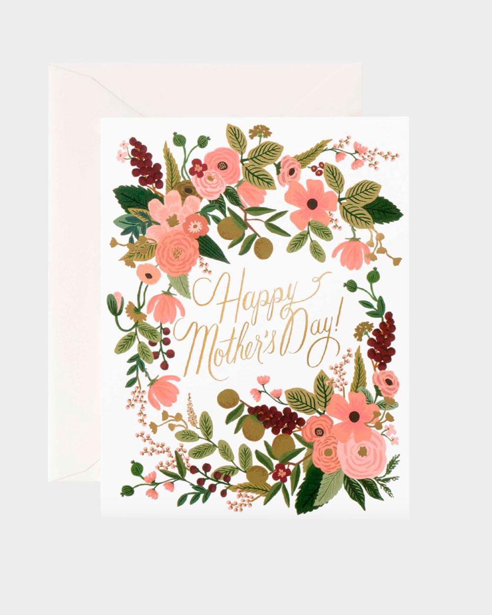 kukkakuvitettu äitienpäiväkortti englanninkielisellä tekstillä