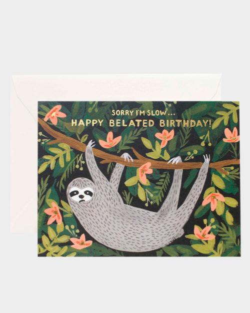 syntymäpäiväkortti myöhästyneisiin onnitteluihin laiskiaiskuvituksella