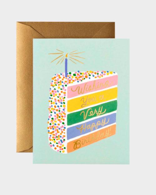 syntymäpäiväkortti kakkupalakuvituksella