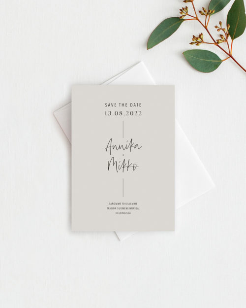Simple elegant save the date kortti hiekka
