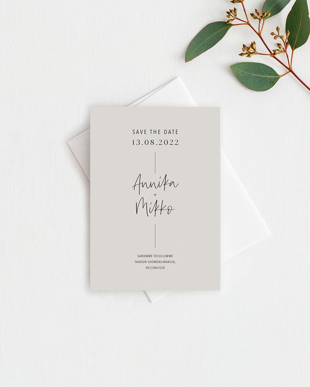Simple elegant save the date kortti hiekka