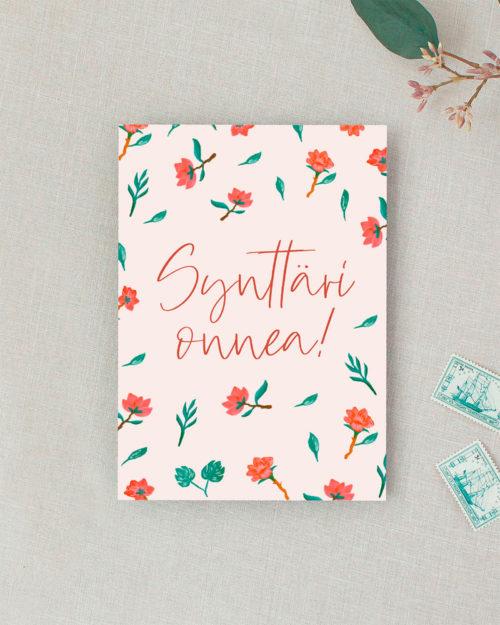 syntymäpäiväkortti kukkakuvituksella