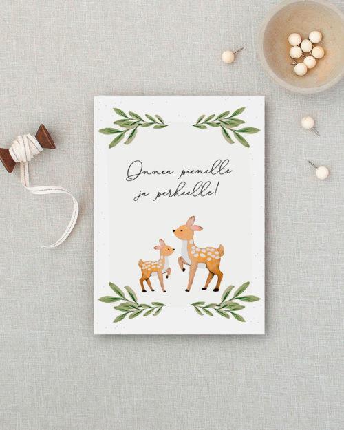 Onnea pienelle ja perheelle kortti bambikuvituksella