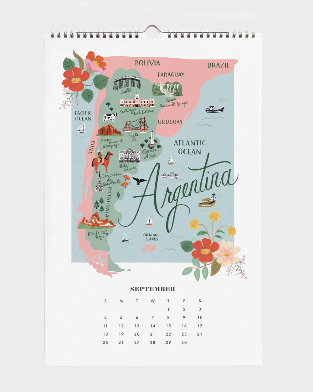 World Traveler 2022 seinäkalenteri Argentina