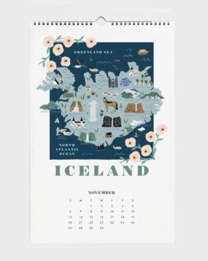 World Traveler 2022 seinäkalenteri Iceland