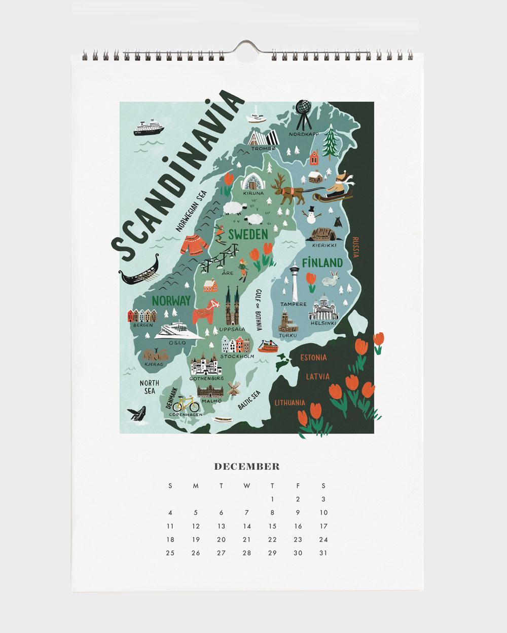 World Traveler 2022 seinäkalenteri Scandinavia