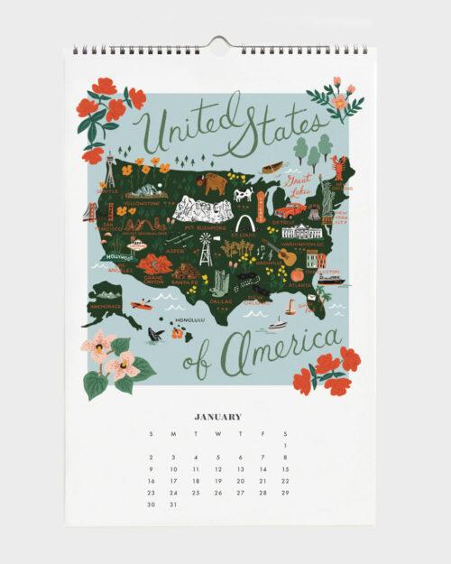 World Traveler 2022 seinäkalenteri USA