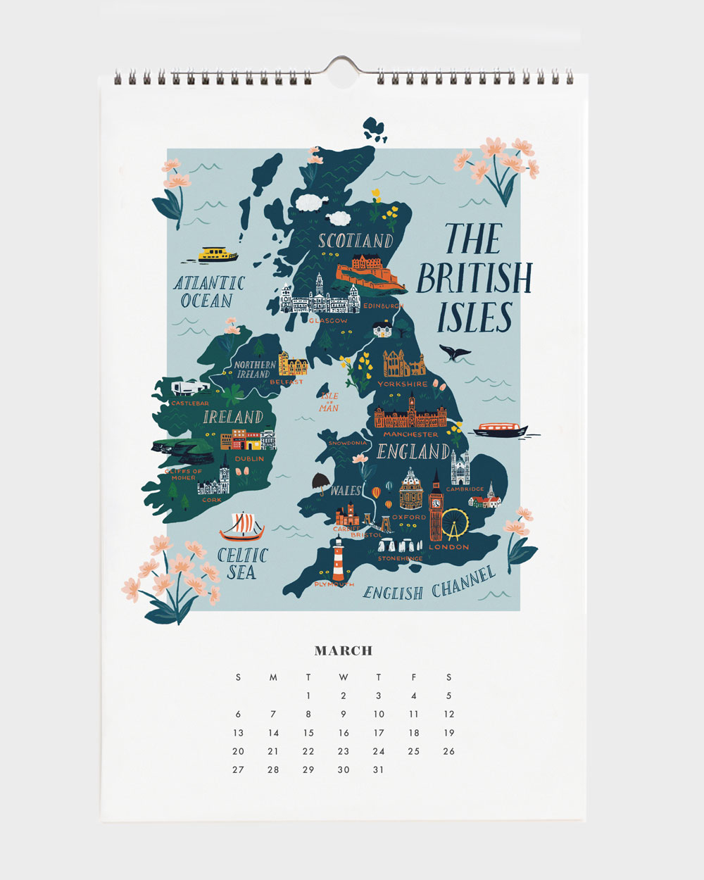 World Traveler 2022 seinäkalenteri The British Isles