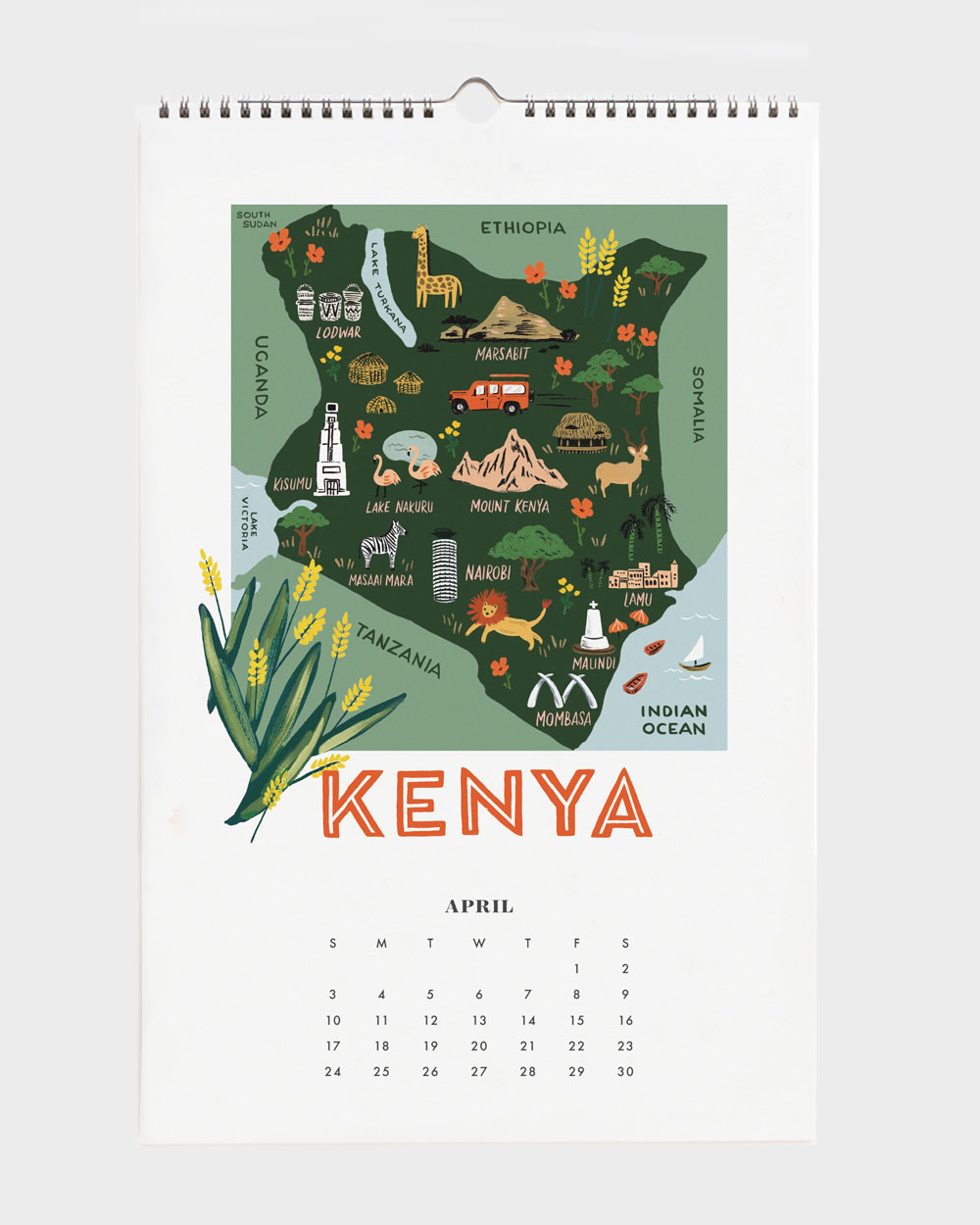 World Traveler 2022 seinäkalenteri Kenya