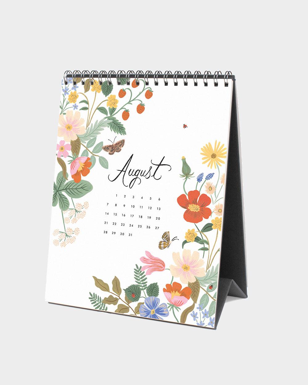 Wild Garden 2022 pöytäkalenteri elokuu