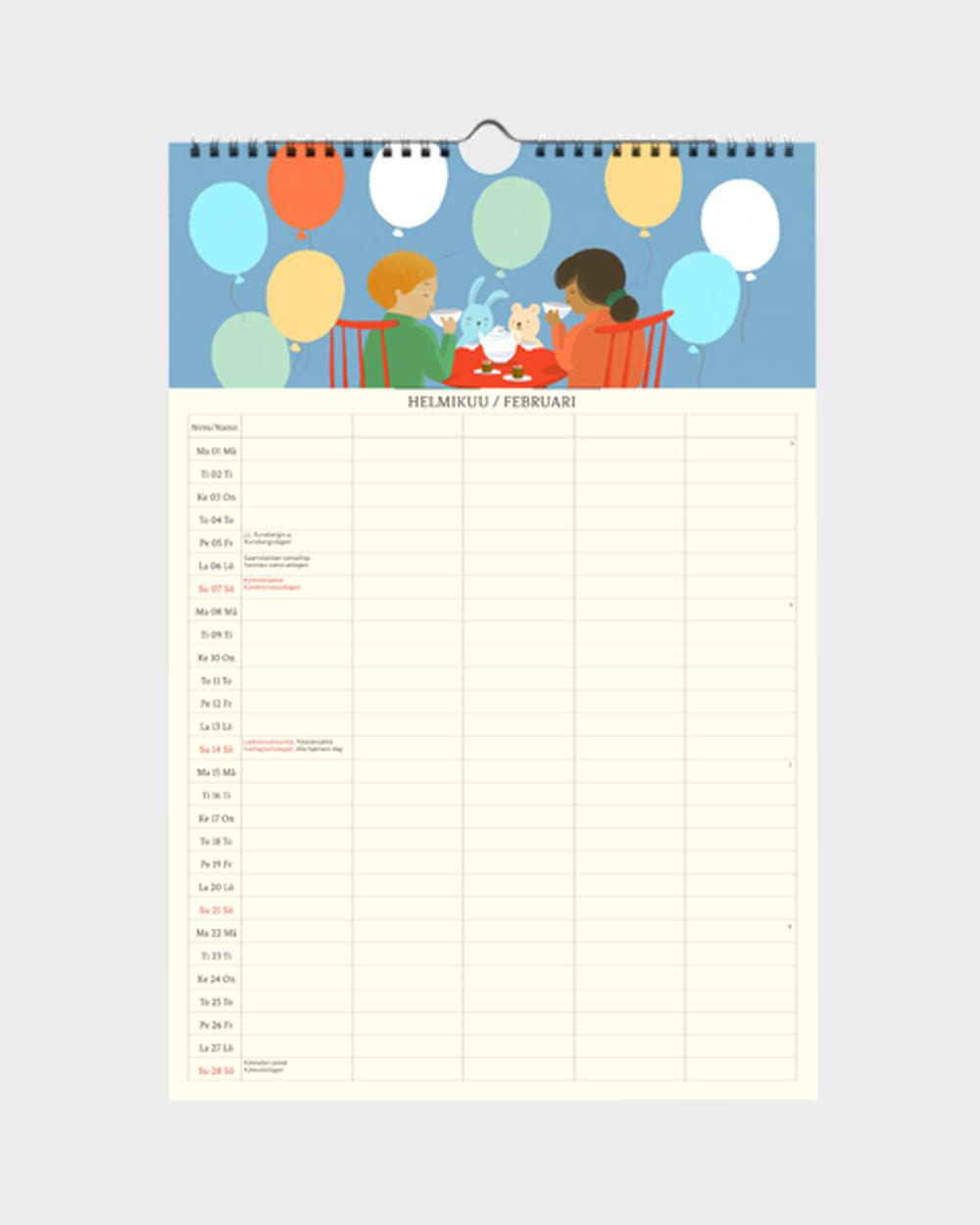 Polka Paper perhekalenteri 2022 helmikuu