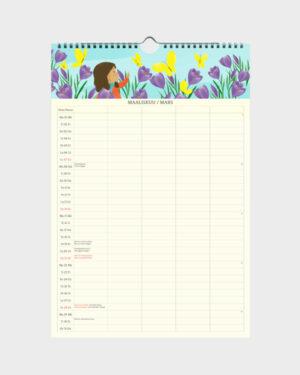 Polka Paper perhekalenteri 2022 maaliskuu