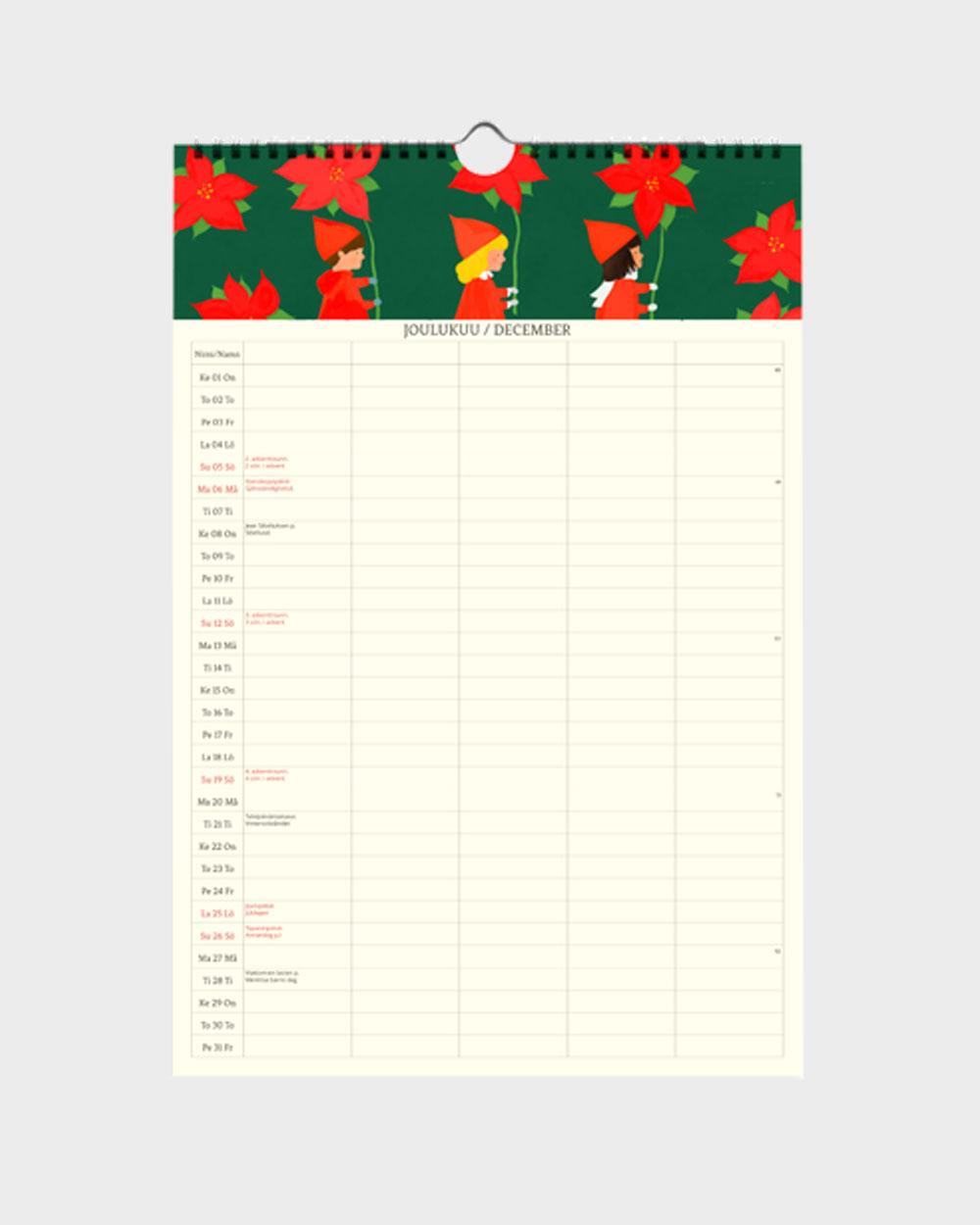 Polka Paper perhekalenteri 2022 joulukuu