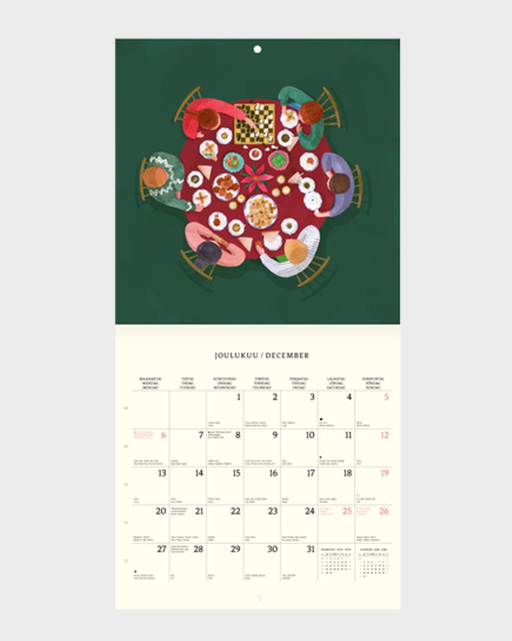 Polka Paper seinäkalenteri 2022 joulukuu