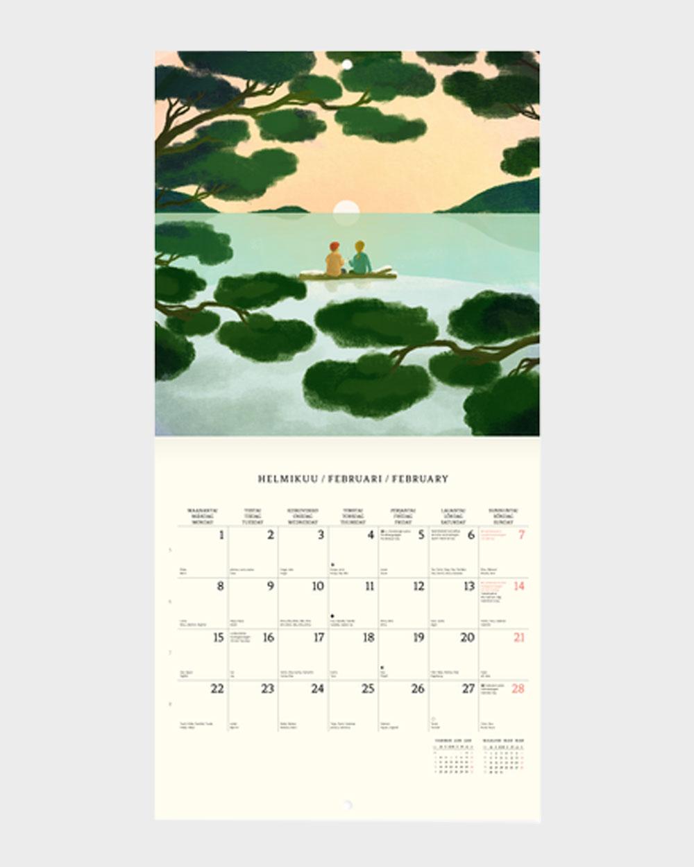Polka Paper seinäkalenteri 2022 helmikuu