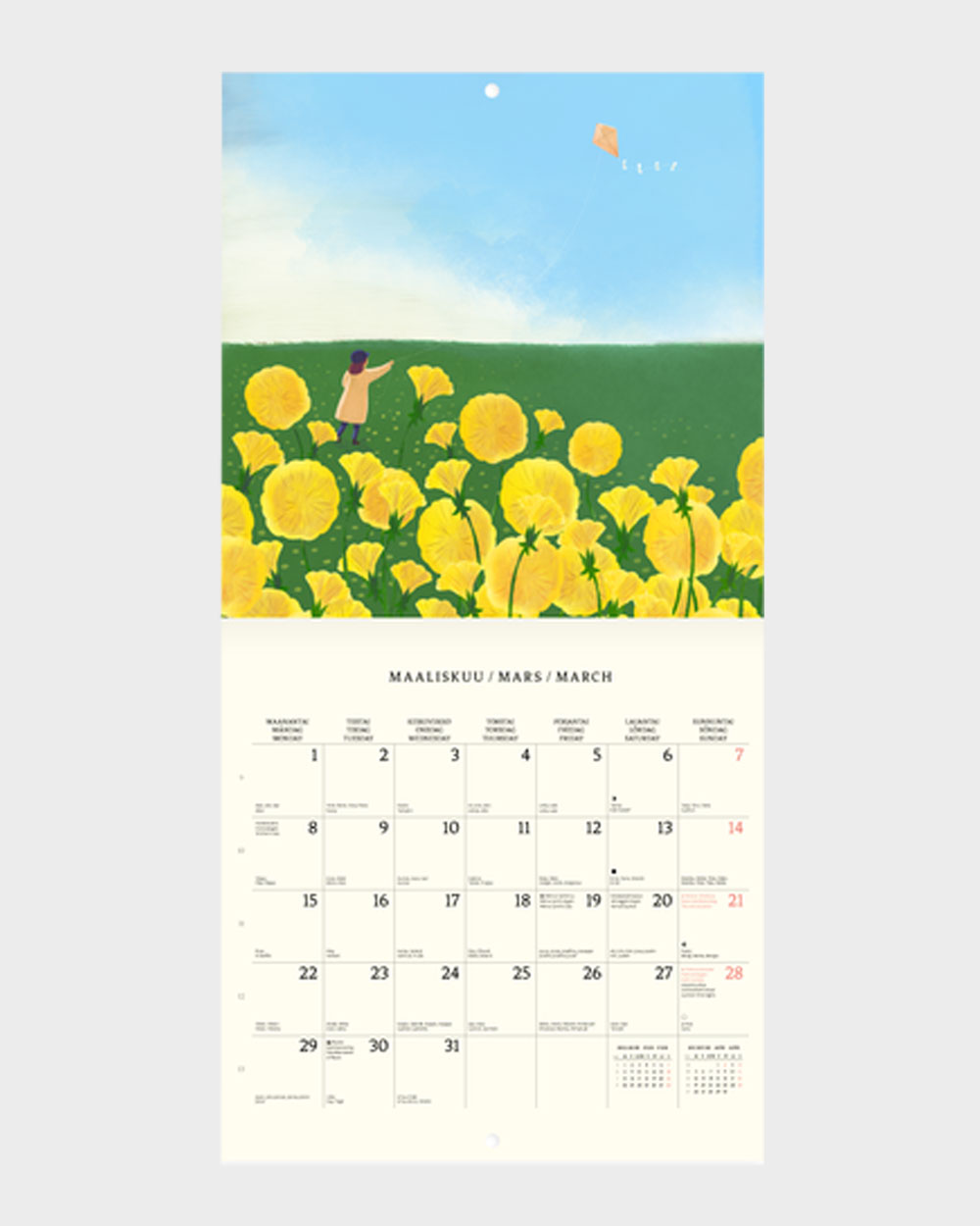 Polka Paper seinäkalenteri 2022 maaliskuu