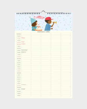 Polka Paper perhekalenteri 2022 huhtikuu