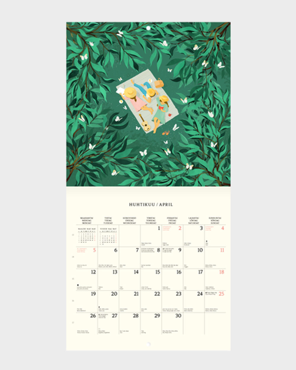 Polka Paper seinäkalenteri 2022 huhtikuu