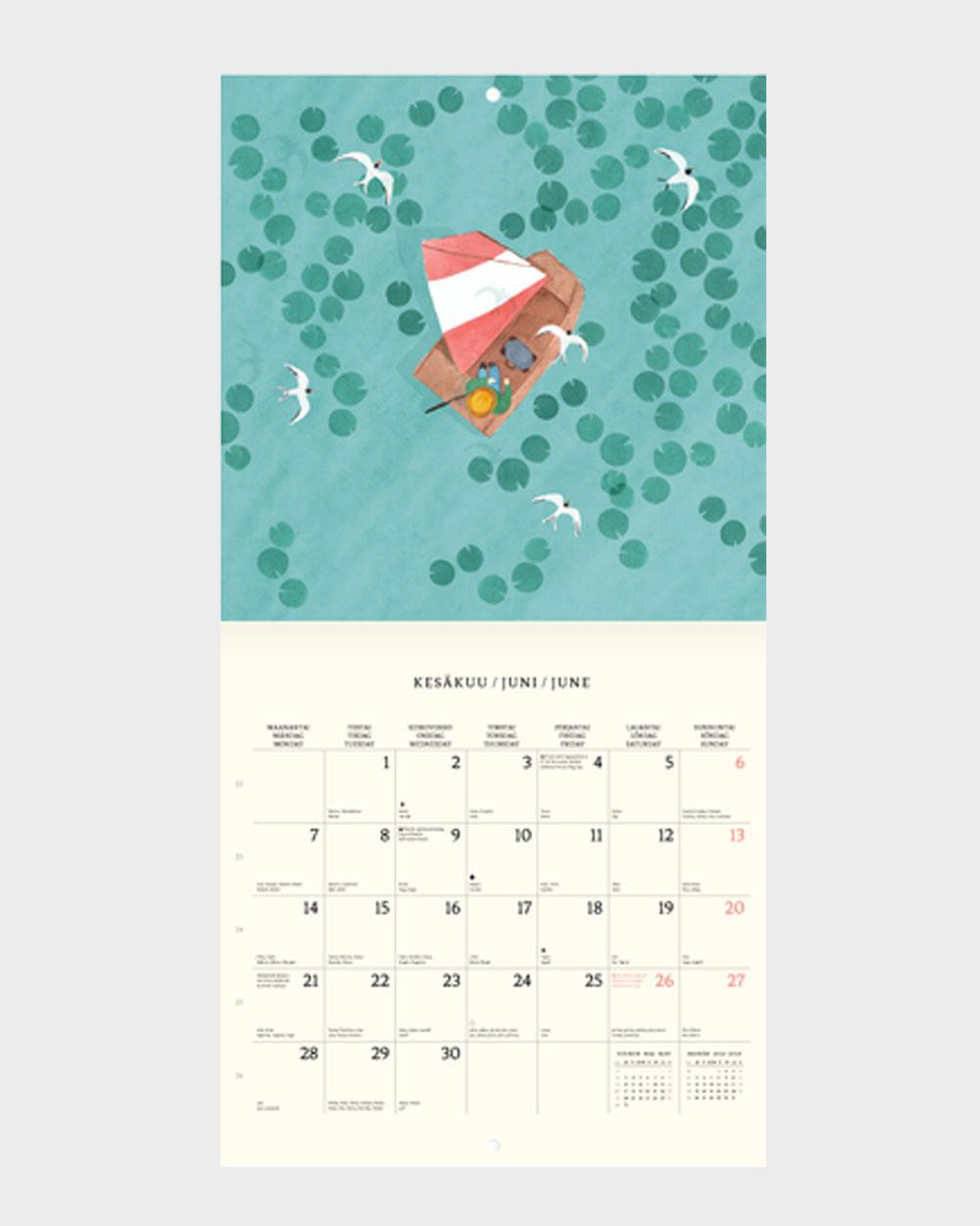 Polka Paper seinäkalenteri 2022 kesäkuu