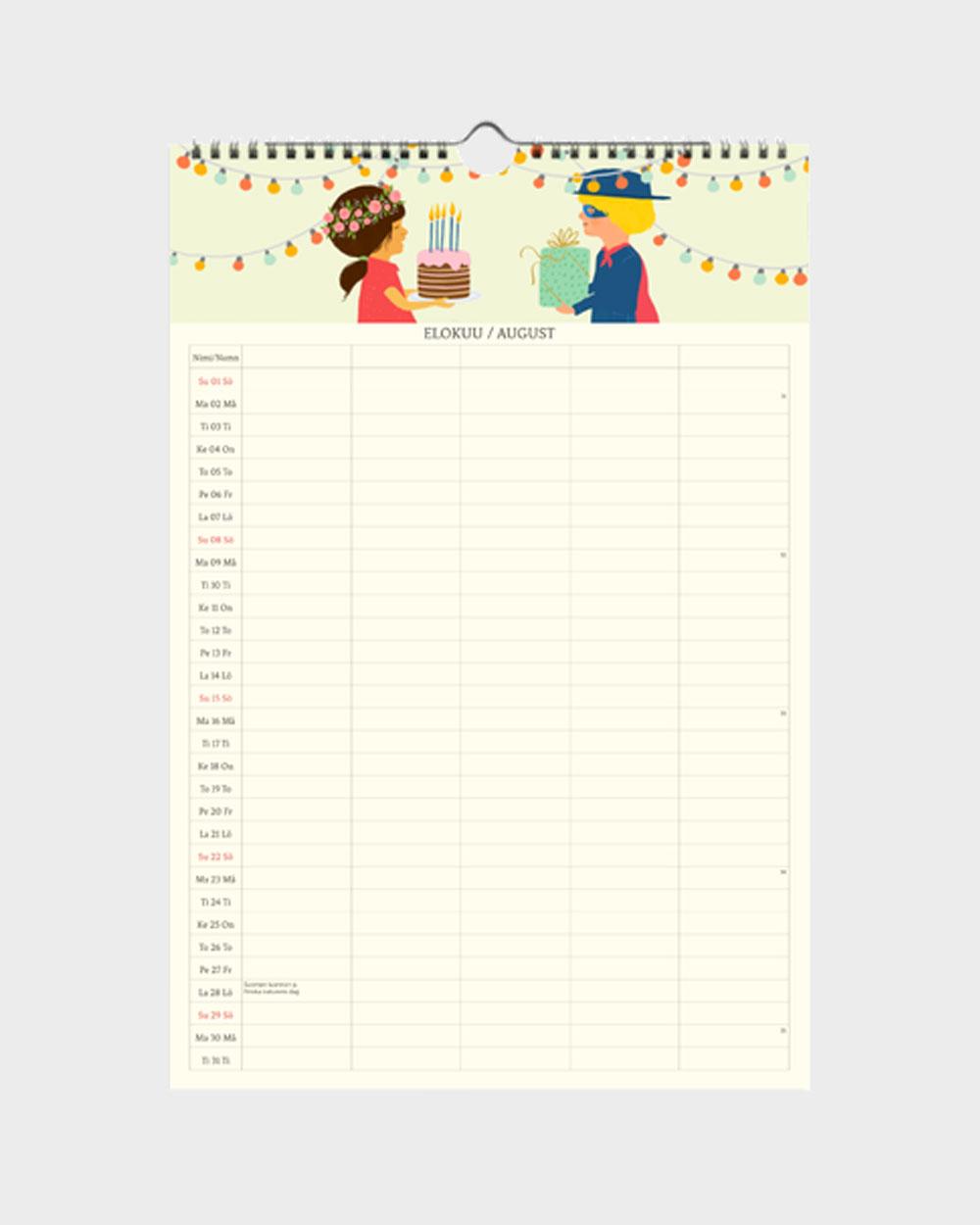 Polka Paper perhekalenteri 2022 elokuu