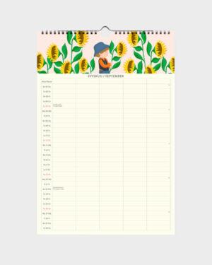 Polka Paper perhekalenteri 2022 syyskuu